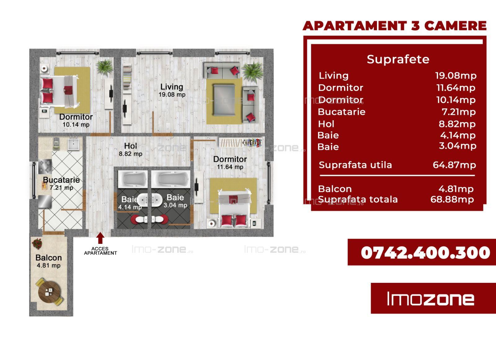 3 camere decomandat - Bloc Finalizat - Bucurestii Noi - Parc Bazilescu Sector 1