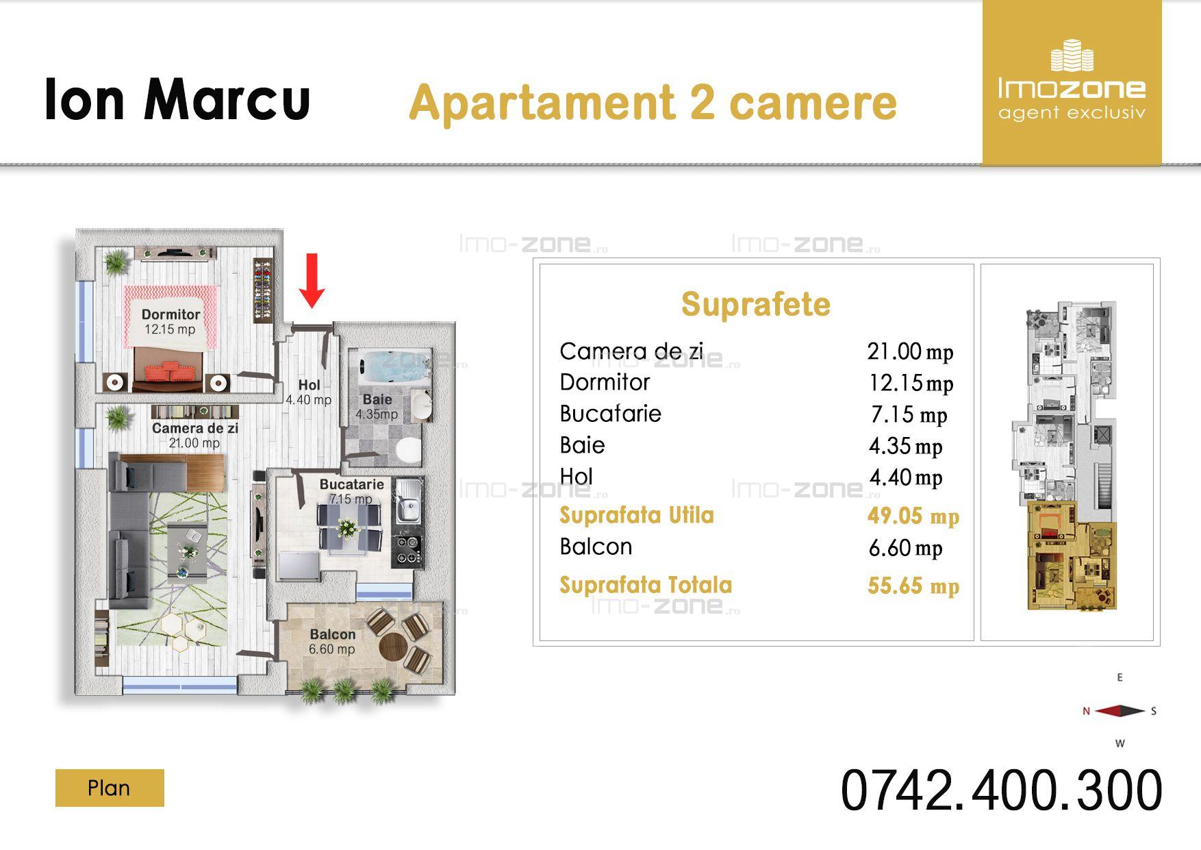 Apartament 2 camere, decomandat, etaj 1/5, Dr. Taberei - Plaza Mall  Comision 0%