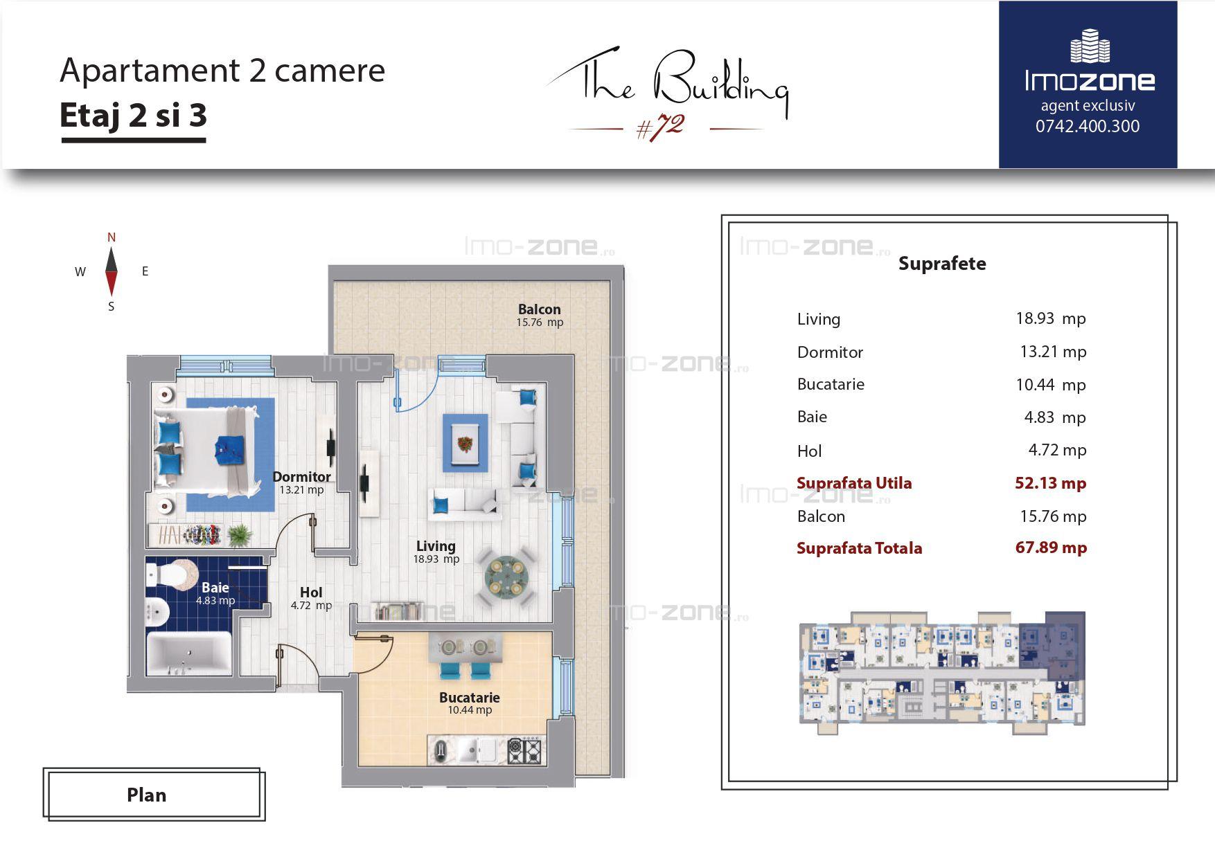 Militari Pacii, apartament 2 camere + terasa 16 mp, decomandat, bucatarie 10 mp