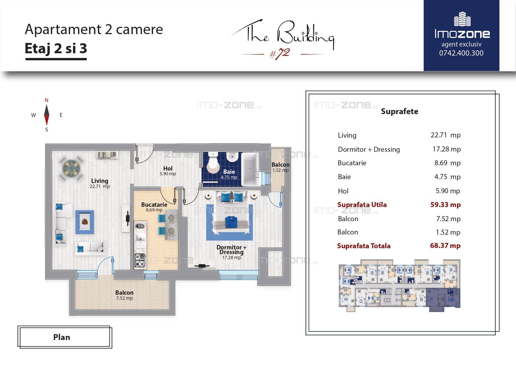 Militari - Metrou Pacii, apartament 2 camere cu 2 balcoane, 68 mp, decomandat