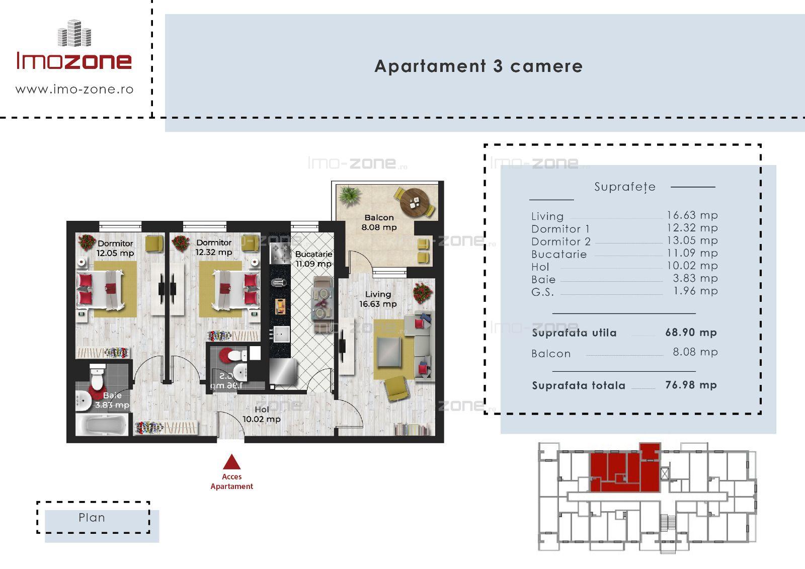 3 camere langa Brancusi, etaj 2, decomandat, bloc finalizat