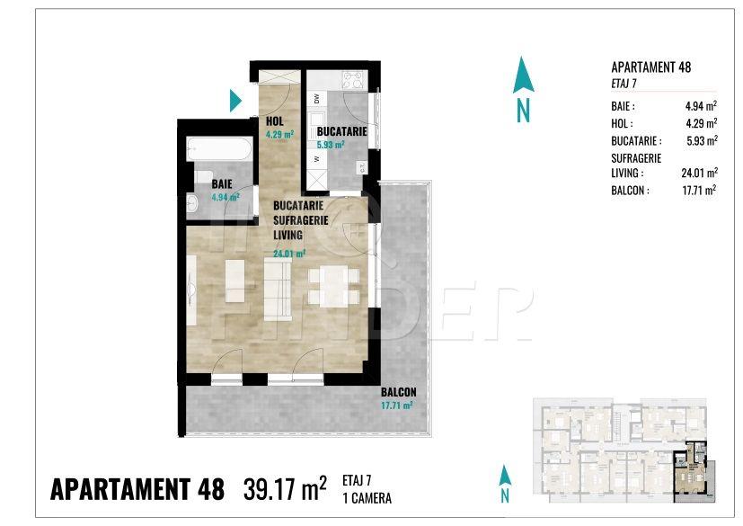Vanzare apartament o camera Calea Turzii, 39 mp + 17 mp terasa
