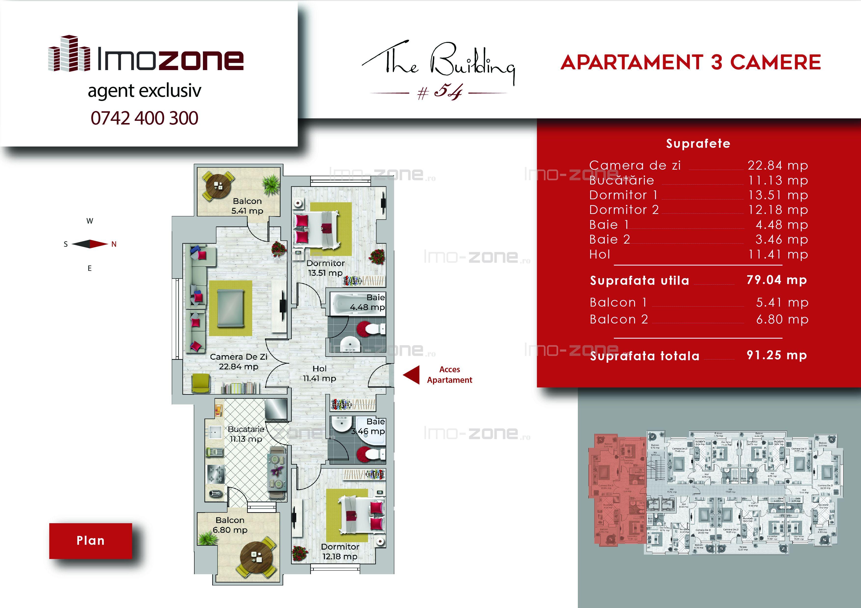 Apartament 3 camere, 91 mp, decomandat, comis 0%, Miltari - Uverturii.