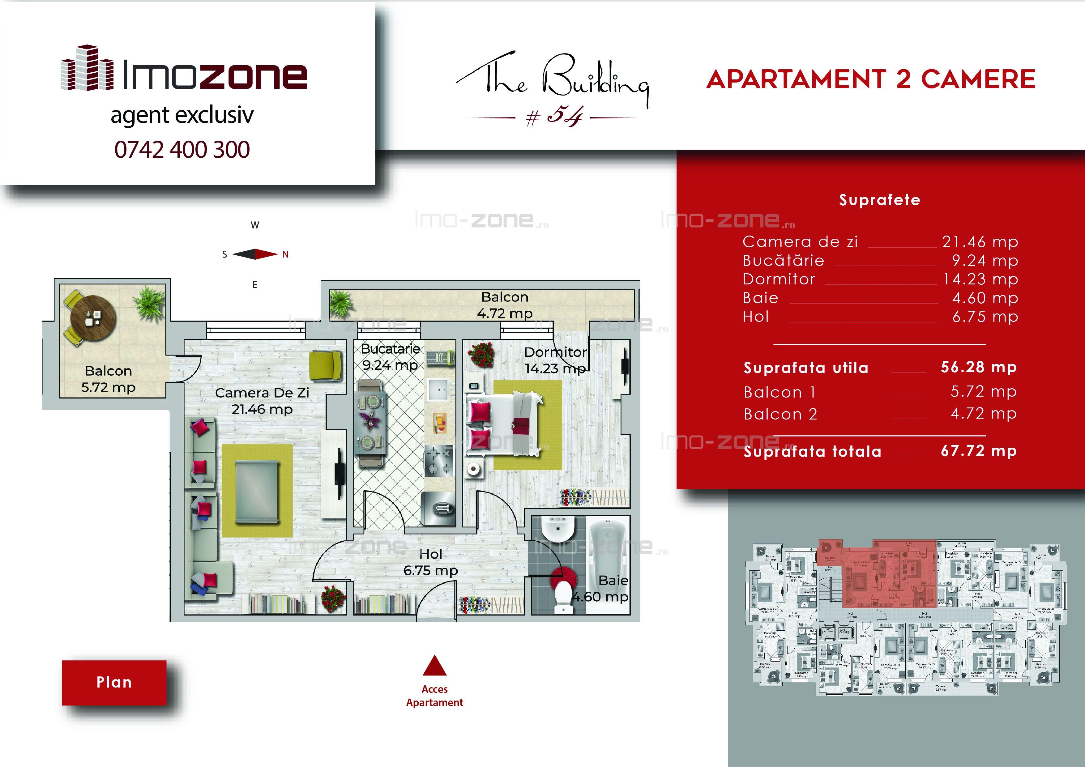 Apartament 2 camere, 67 mp, decomandat, comis 0%, Miltari - Uverturii.