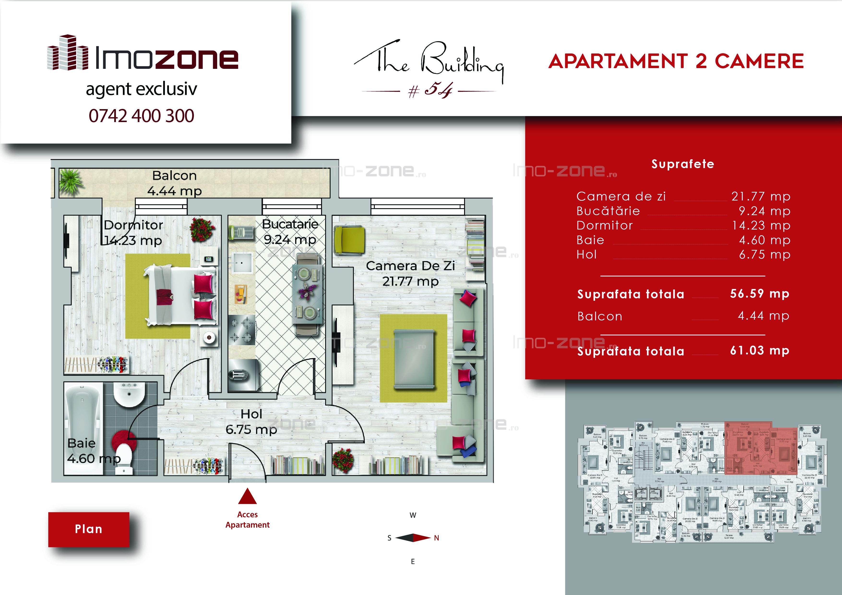 Apartament 2 camere, 61 mp, decomandat, comis 0%, Miltari - Uverturii.