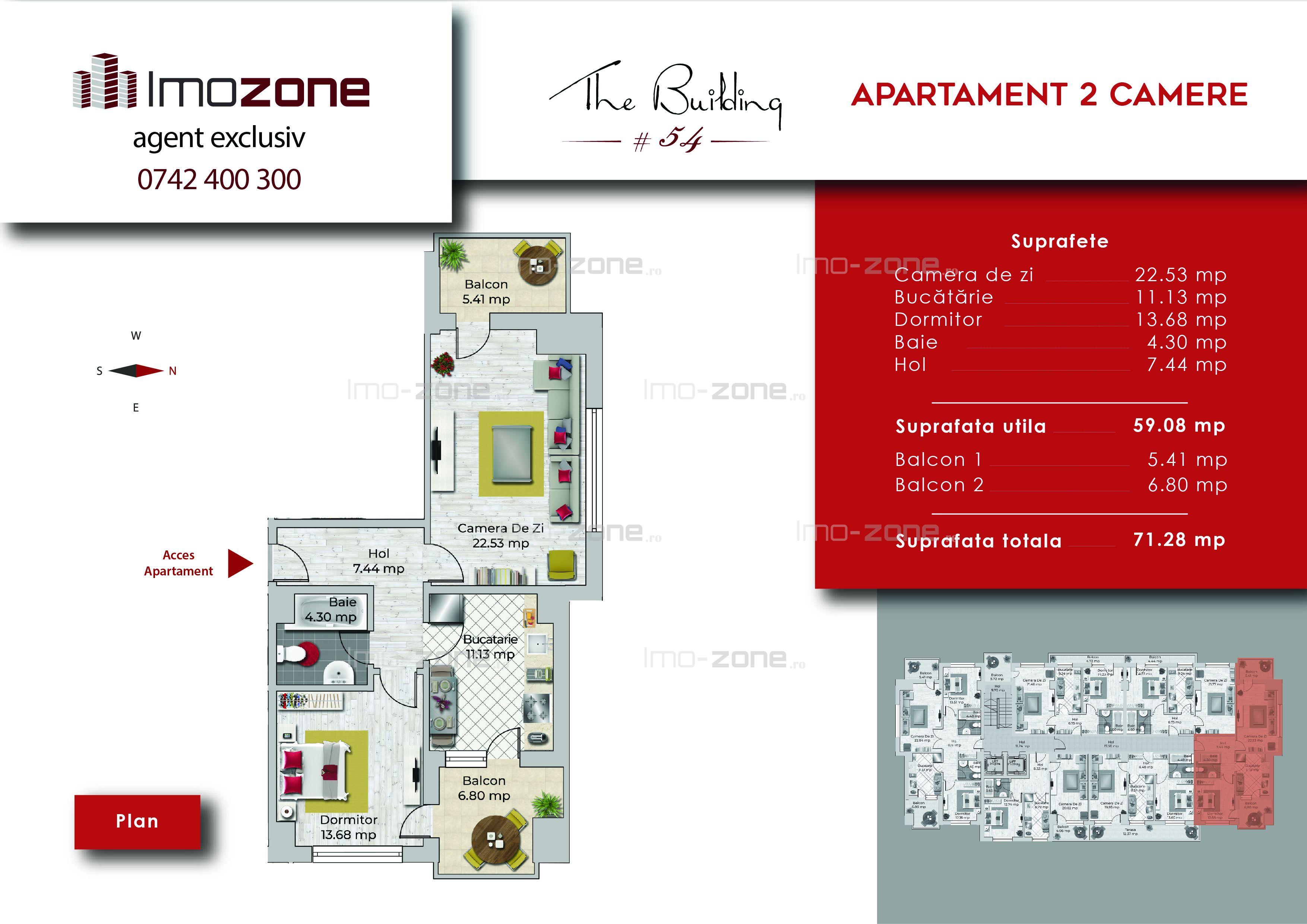 Apartament 2 camere, 71 mp, decomandat, comis 0%, Miltari - Uverturii.