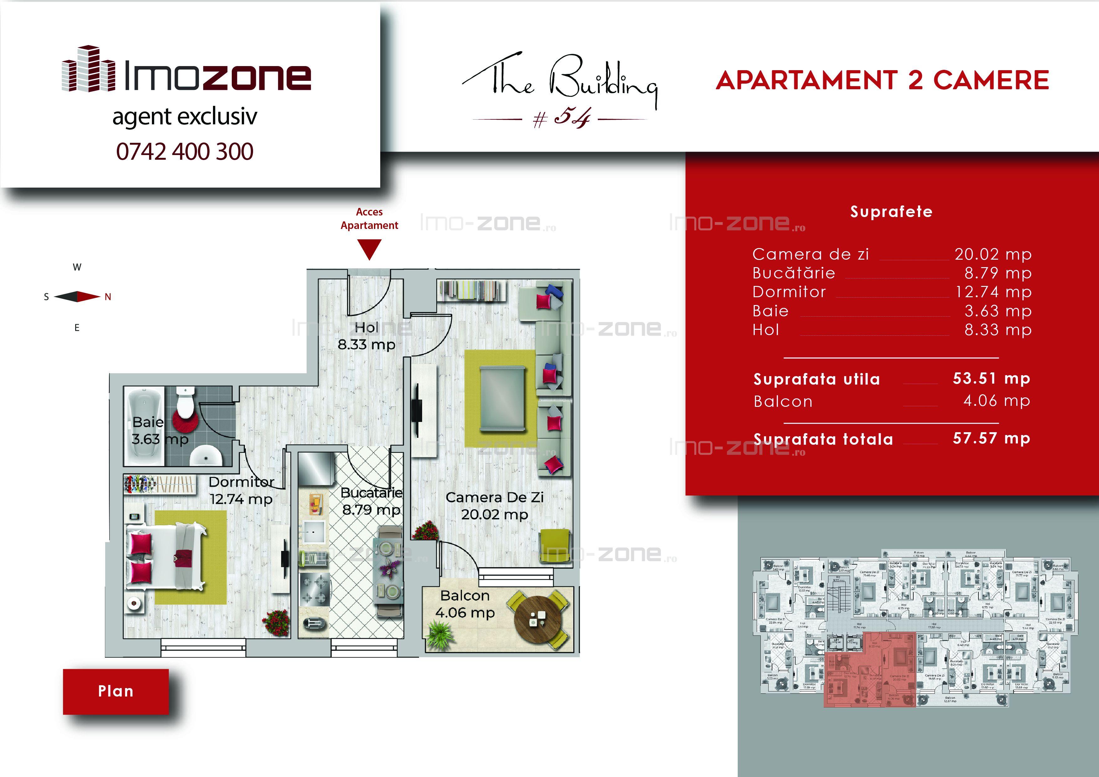 Apartament 2 camere, 57 mp, decomandat, comis 0%, Miltari - Uverturii.