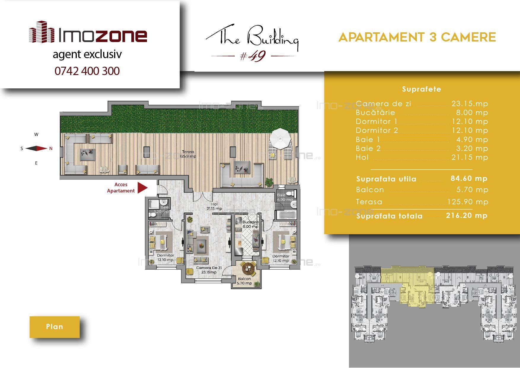 Drumul Taberei 3 camere, dec, 85mp + terasa 125mp, etaj 4/4+pod, lift