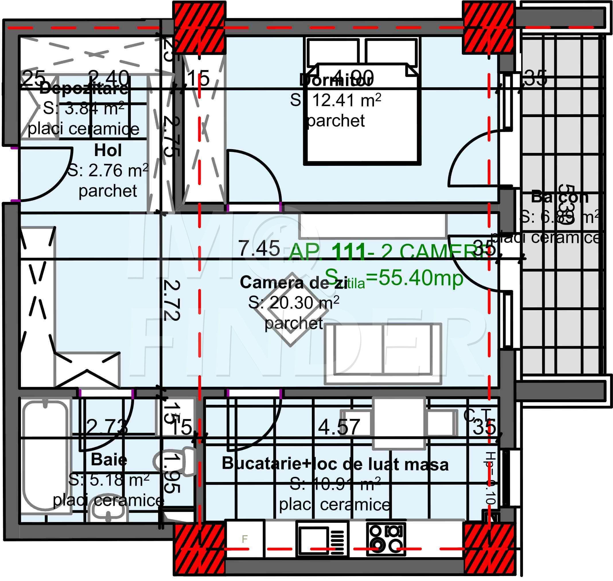 Vanzare apartament 2 camere, zona Kaufland Marasti