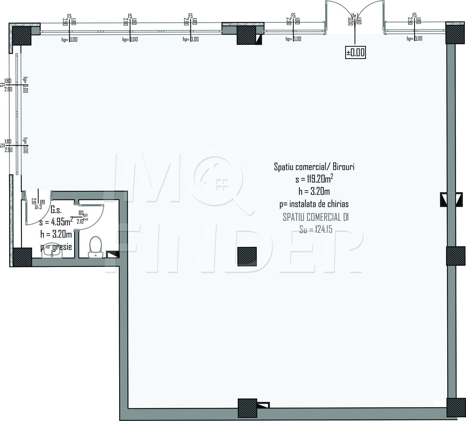 Vanzare spatii comerciale/ birouri  imobil nou, zona Centrala, 124 mp