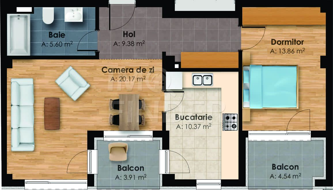 Apartament 2 camere in zona centrala, imobil nou, 59 mp + 2 balcoane