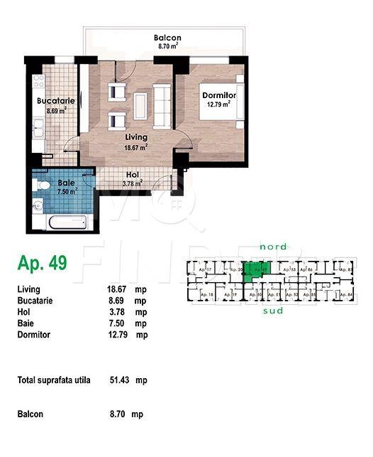 Vanzare apartament 2 camere Zorilor/Europa, 52 mp