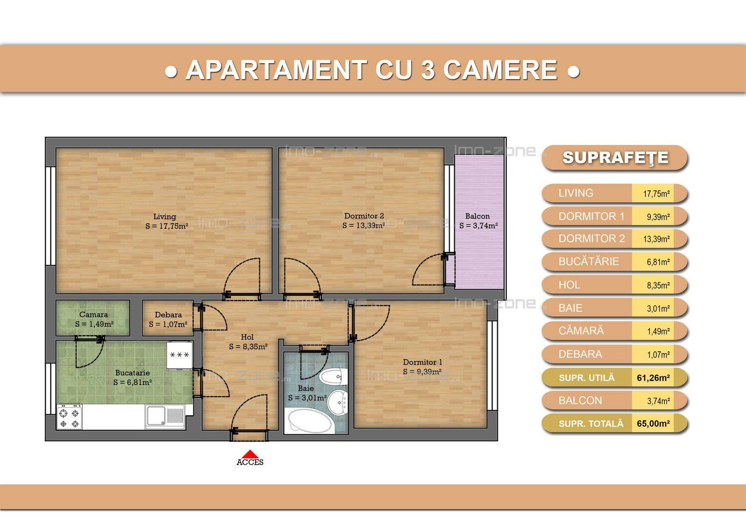 Apartament cu 3 camere in Drumul Taberei- Bucla cu garaj