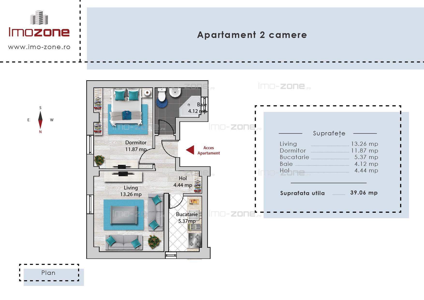 Apartament 2 camere, decomandat, zona linistita, comision 0%