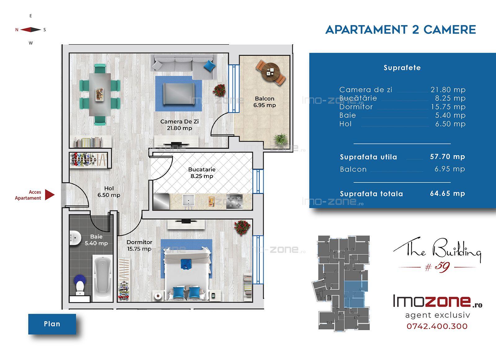 BLOC 2019, 2 camere, decomandat, LIVING 22 mp, DORMITOR 15 mp, 6 minute metrou.