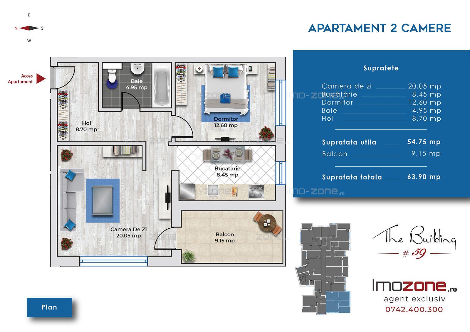 IMOBIL 2019, 2 camere, decomandat, modern, bucatarie inchisa, 6 minute metrou.