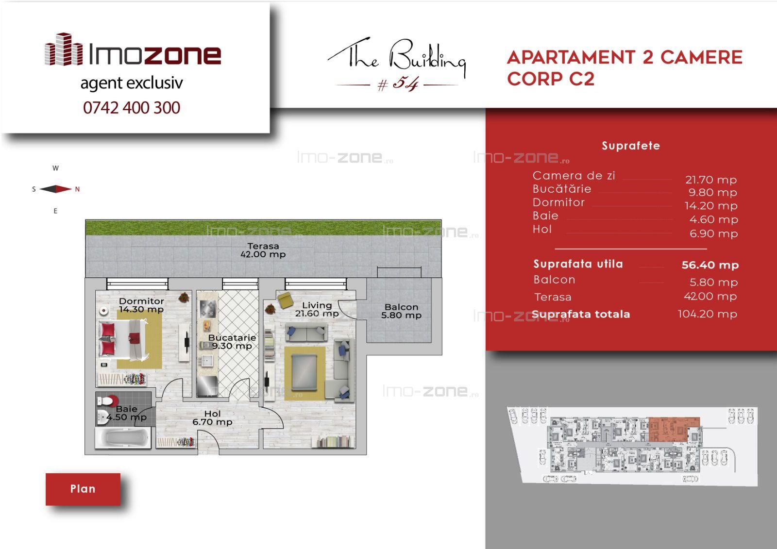 Apartament 2 camere + terasa de 42 mp, decomandat, bloc nou, Militari-Uverturii