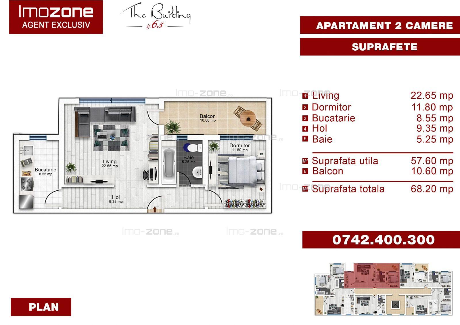 Apartament 2 camere, decomandat, 73 mp.S.U, finisat modern, metrou, comision 0%