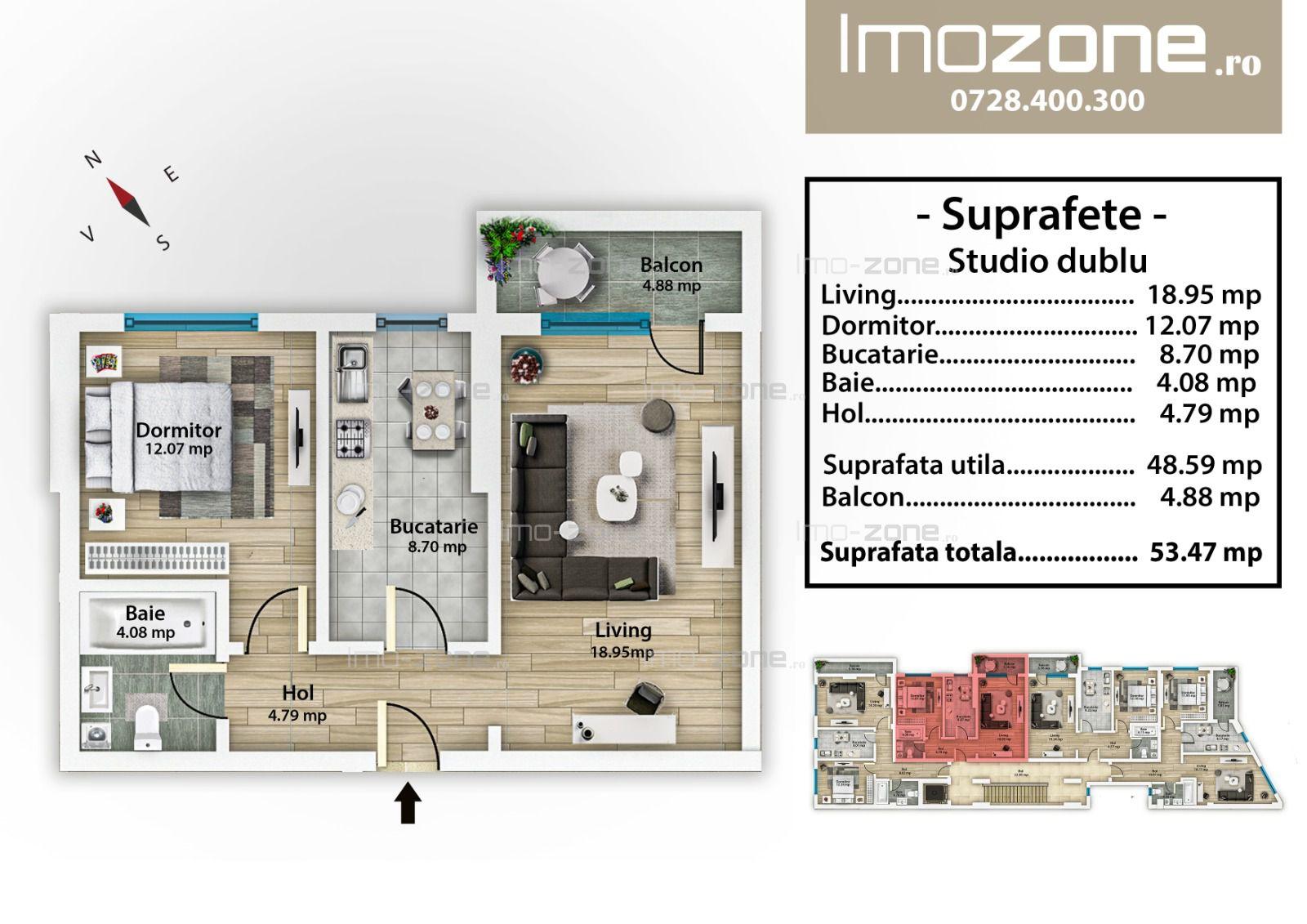 Bloc Nou, Mall Plaza, 2 camere, decomandat, etaj 2, bucatarie inchisa, balcon