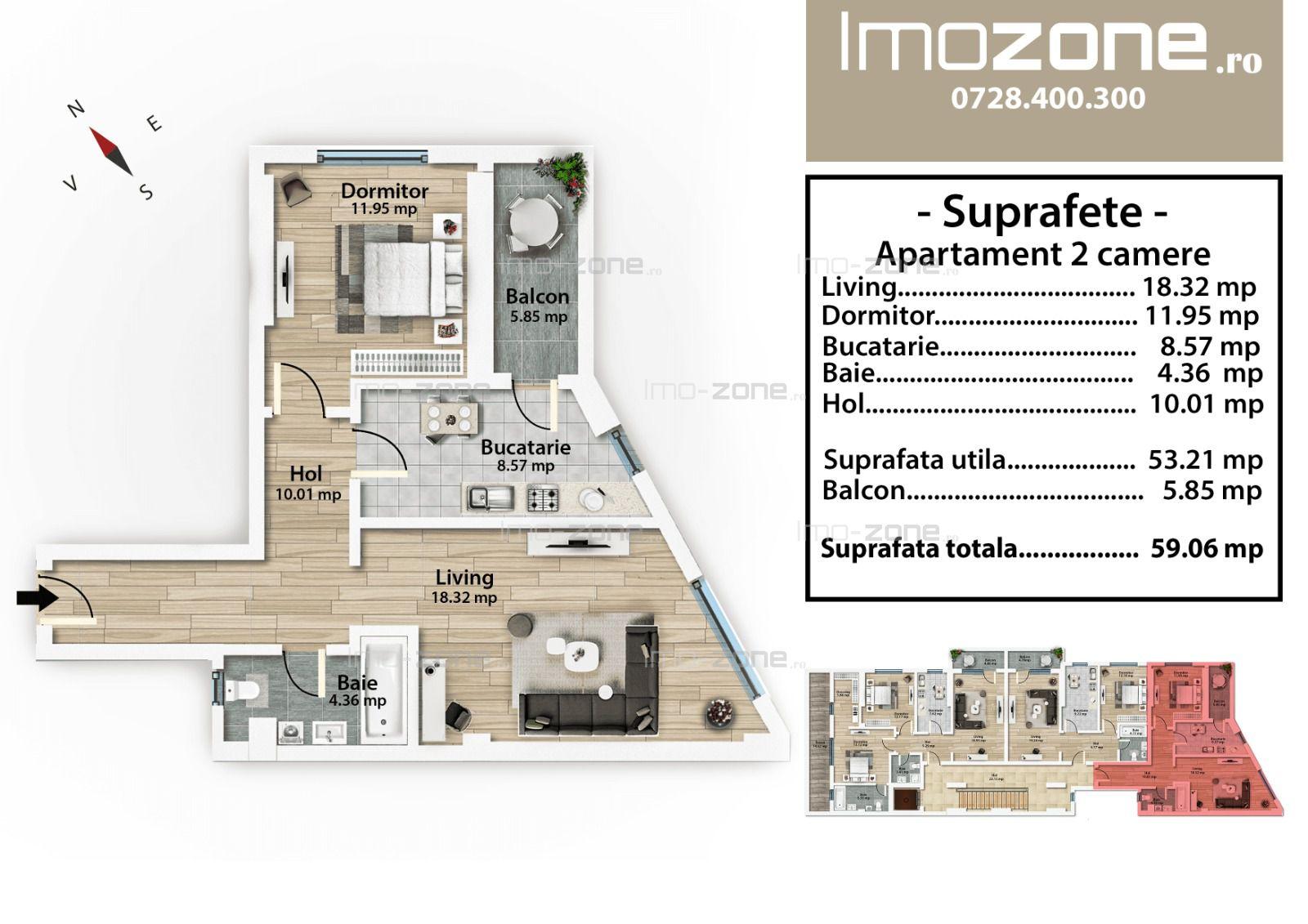 Mall Plaza. ap cu 2 camere, decomandat, etaj 2, baie cu geam, bucatarie inchisa