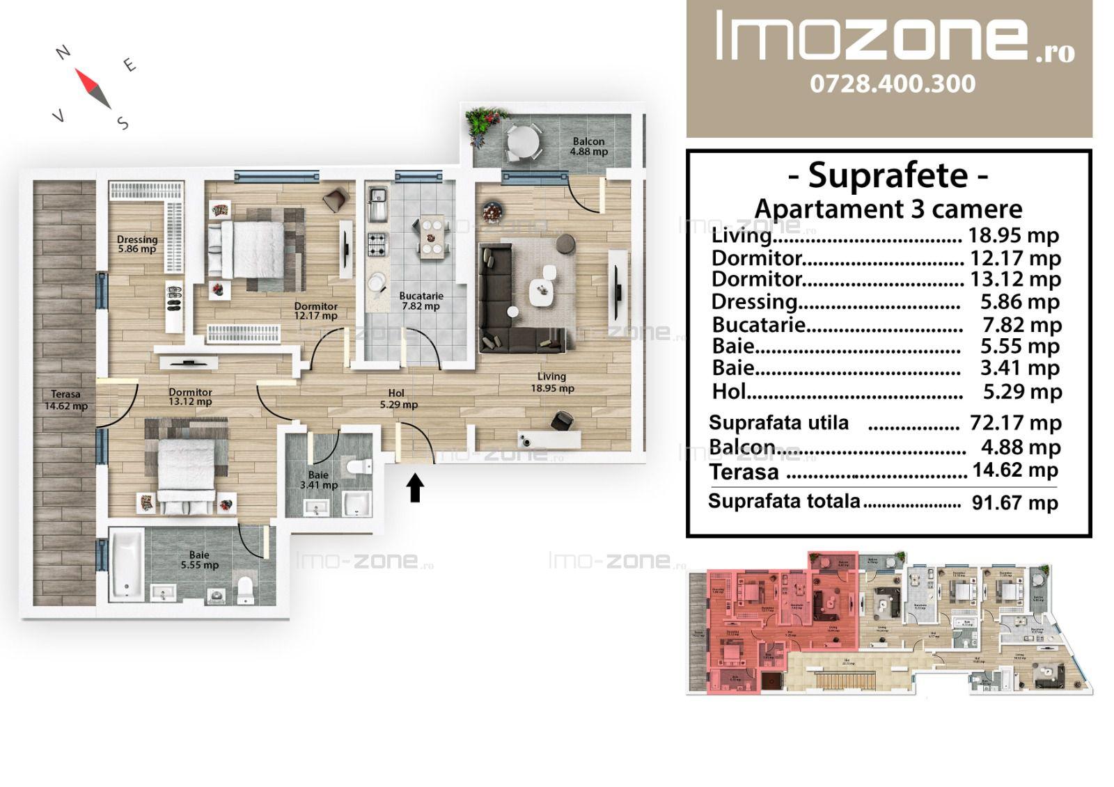 Mall Plaza, 3 camere, dec, etaj 5, dormitor matrimonial, geam baie, metrou 9 min